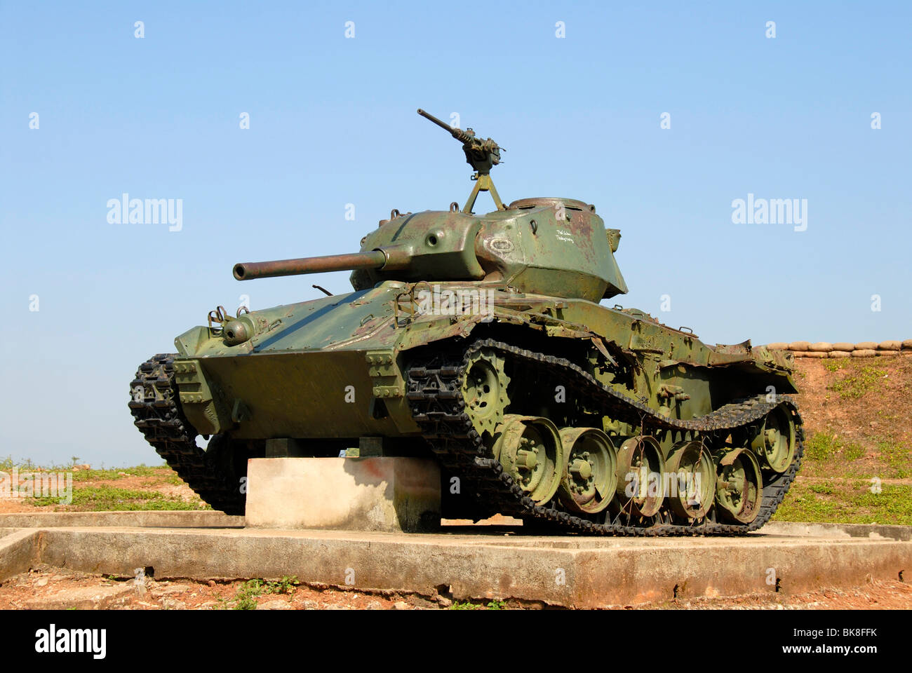 First Indochina War 1954, old French tank on the A1 Hill, Dien Bien Phu, Vietnam, Southeast Asia, Asia Stock Photo