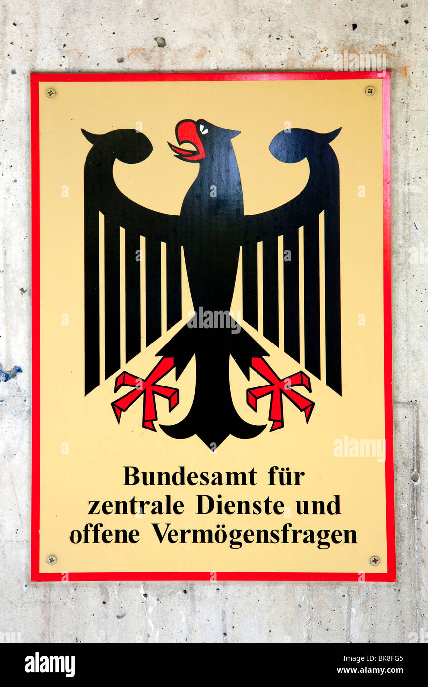 Sign Federal Office for central services and open property issues, based in Bad Homburg von der Hoehe, Hesse, Germany, Stock Photo