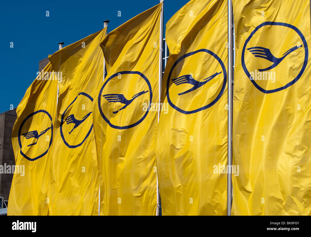 Flags of the German Lufthansa - Stock Image