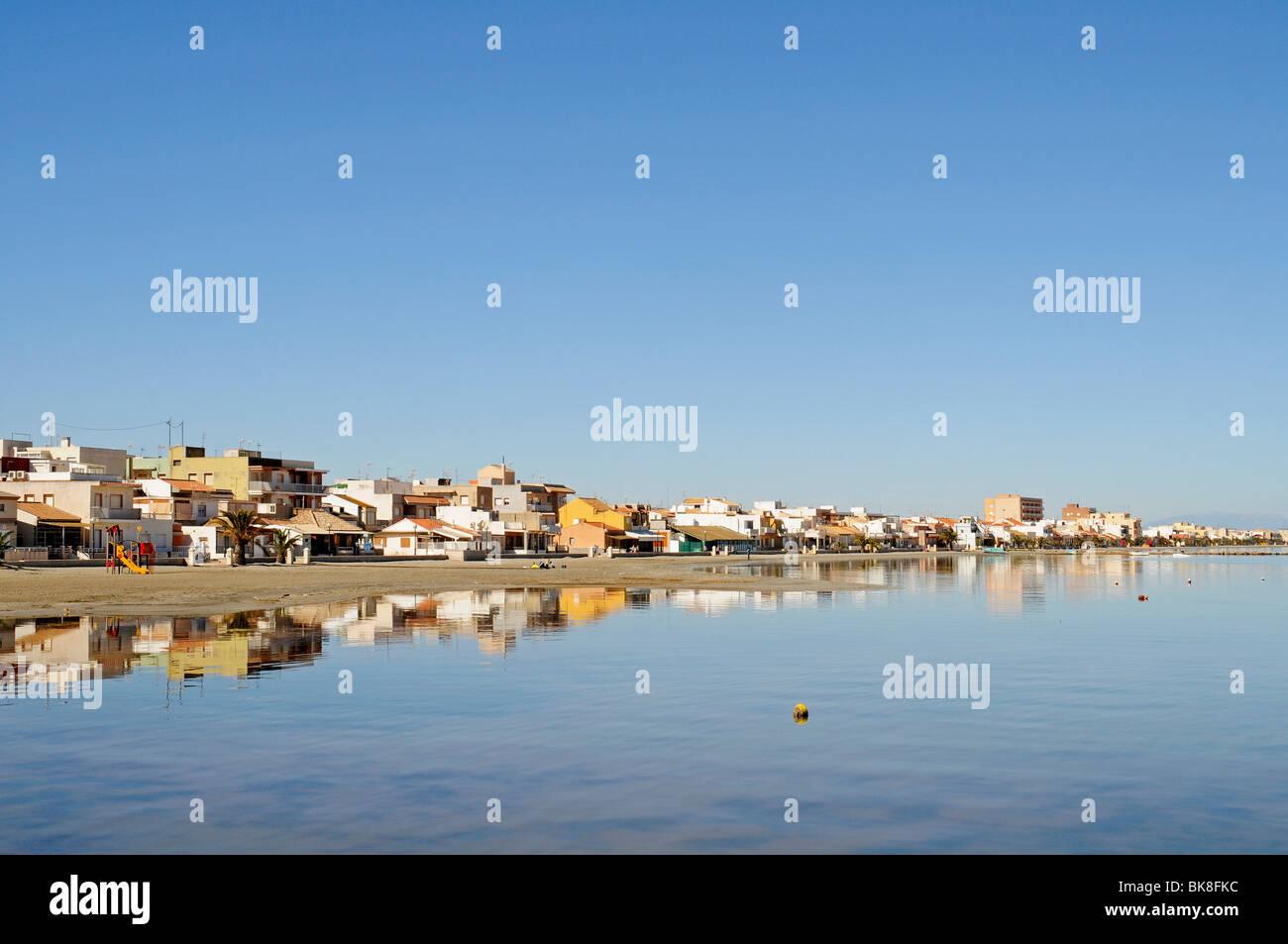 Los Nietos, houses, village, lagoon, inland sea, Mar Menor, Murcia, Spain, Europe - Stock Image