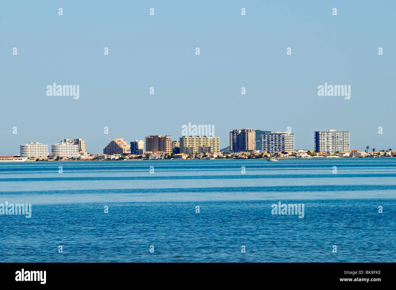 High-rise buildings, lagoon, inland sea, La Manga, Mar Menor, Murcia, Spain, Europe - Stock Image