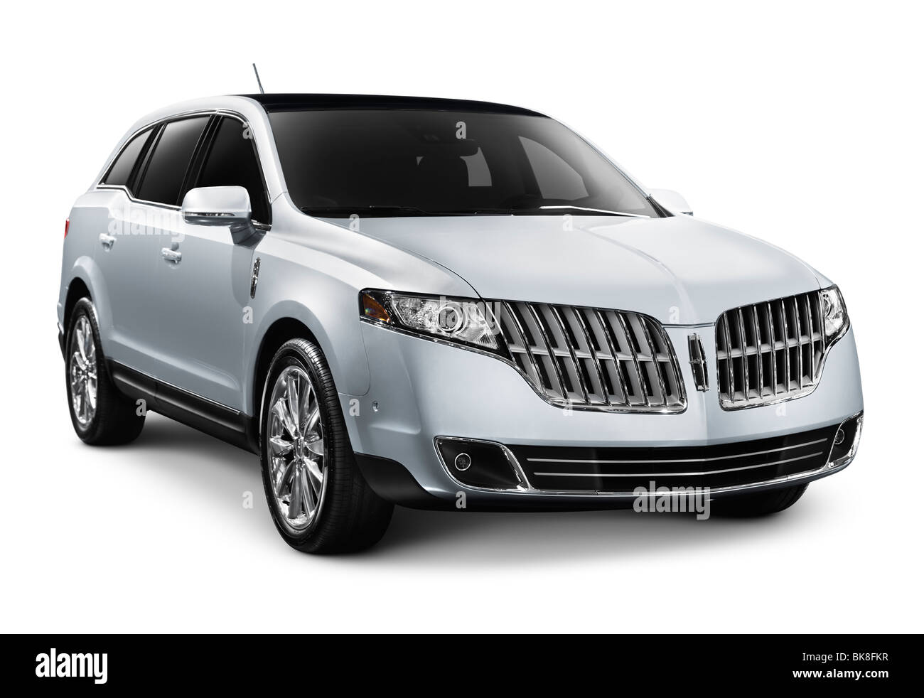 2010 Lincoln MKT luxury crossover. Isolated car on white background with clipping path. - Stock Image