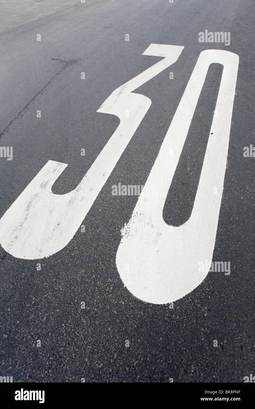 Road marking indicating a 30 km/h zone, Hesse, Germany, Europe - Stock Image