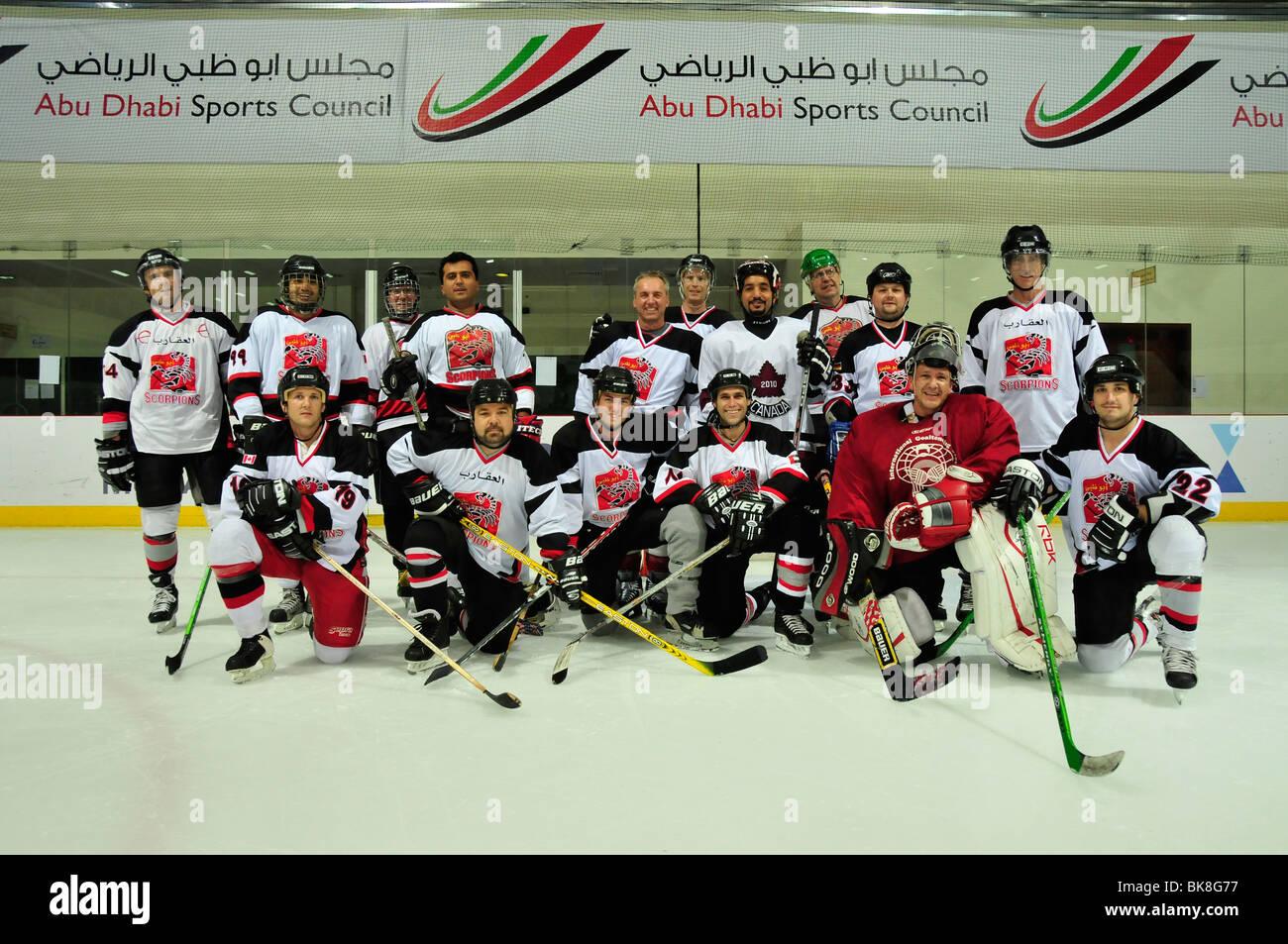 Ice hockey team The Abu Dhabi Scorpions in the ice hockey stadium, ice rink, Abu Dhabi, United Arab Emirates, Arabia, Stock Photo