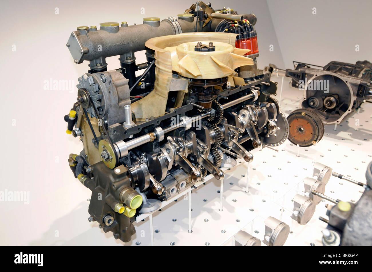 Porsche 6-cylinder engine disassembled, Neues Porschemuseum, New Porsche Museum, 2009, Stuttgart, Baden-Wuerttemberg, - Stock Image