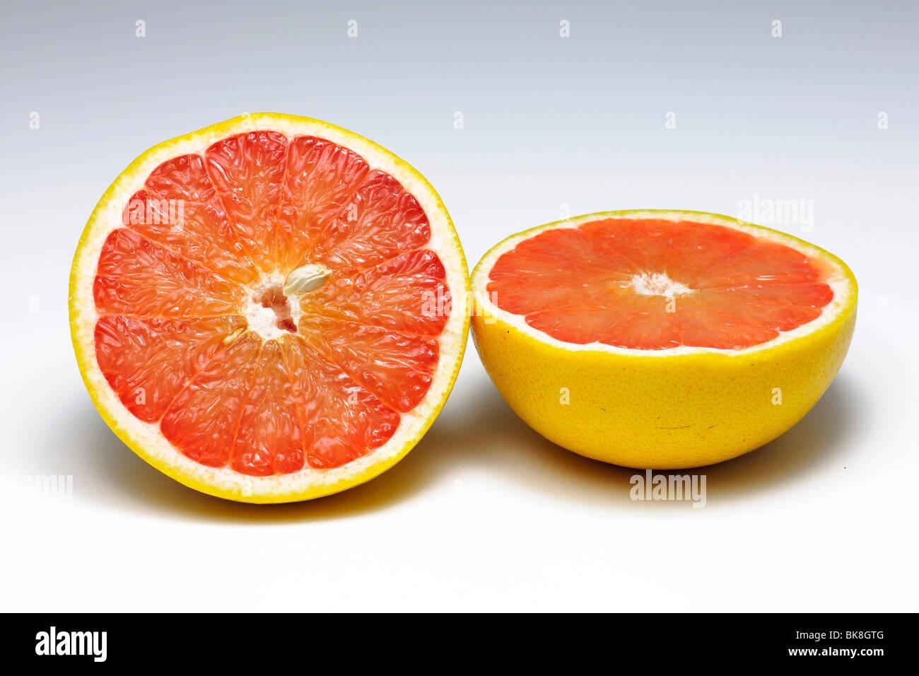 Red grapefruit (Citrus paradisi) cut into halves - Stock Image