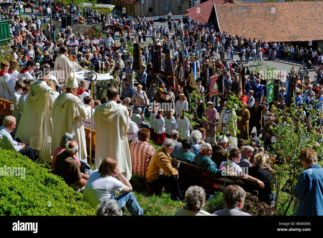 Out door service after finding the Saint Englmar, tradition of 'Englmarisuchen', 'looking for Saint - Stock Image