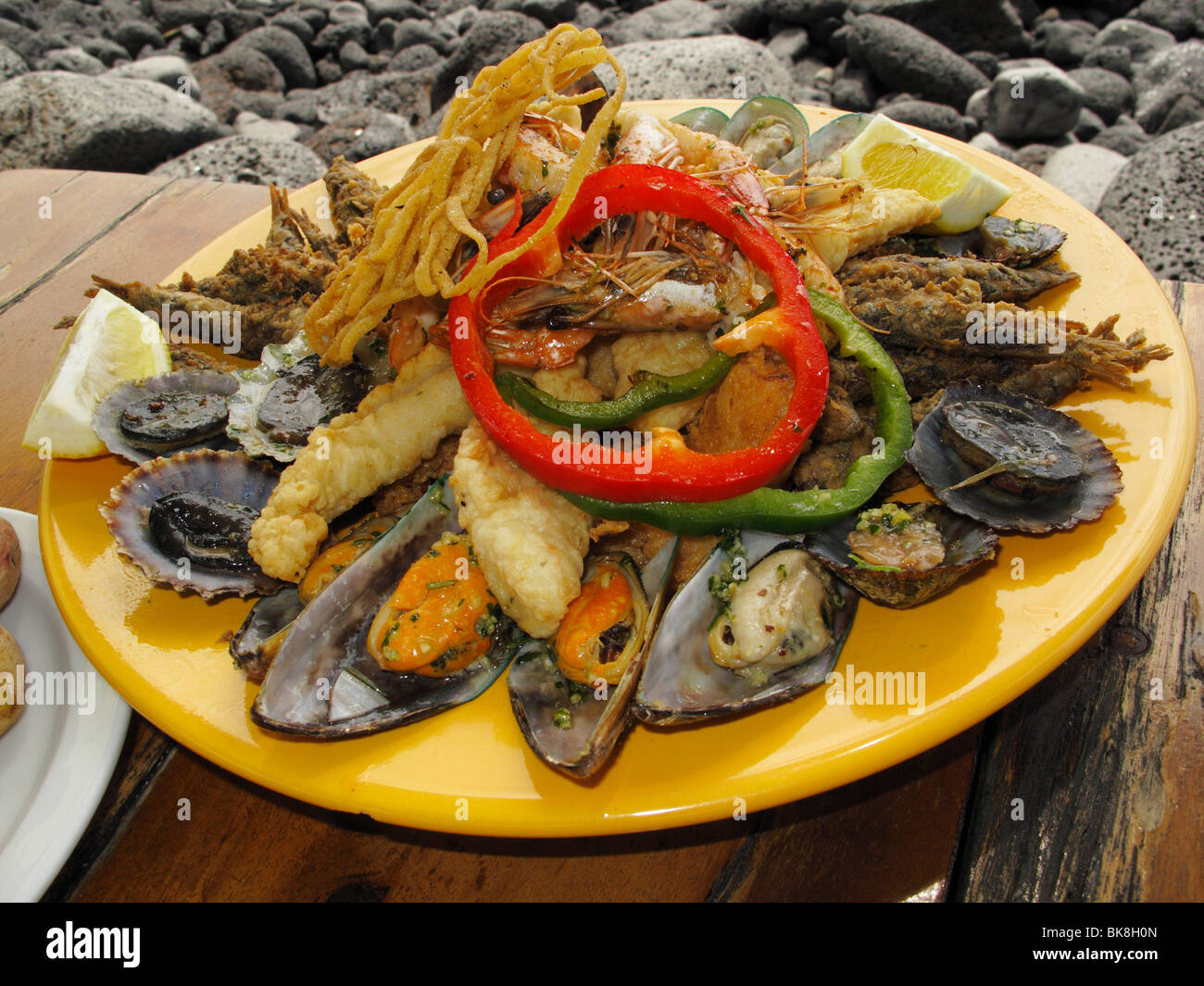 Seafood dish, La Palma, Canary Islands, Spain - Stock Image