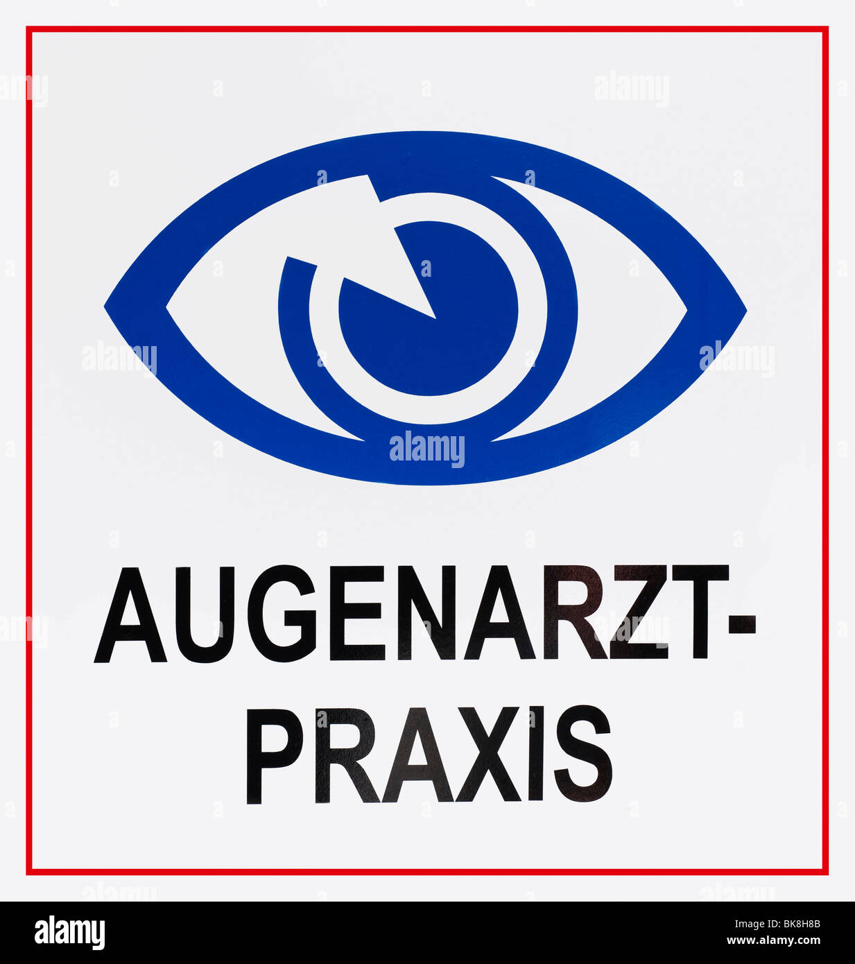 Sign: Augenarztpraxis, German for: eye specialist's surgery, with eye symbol - Stock Image