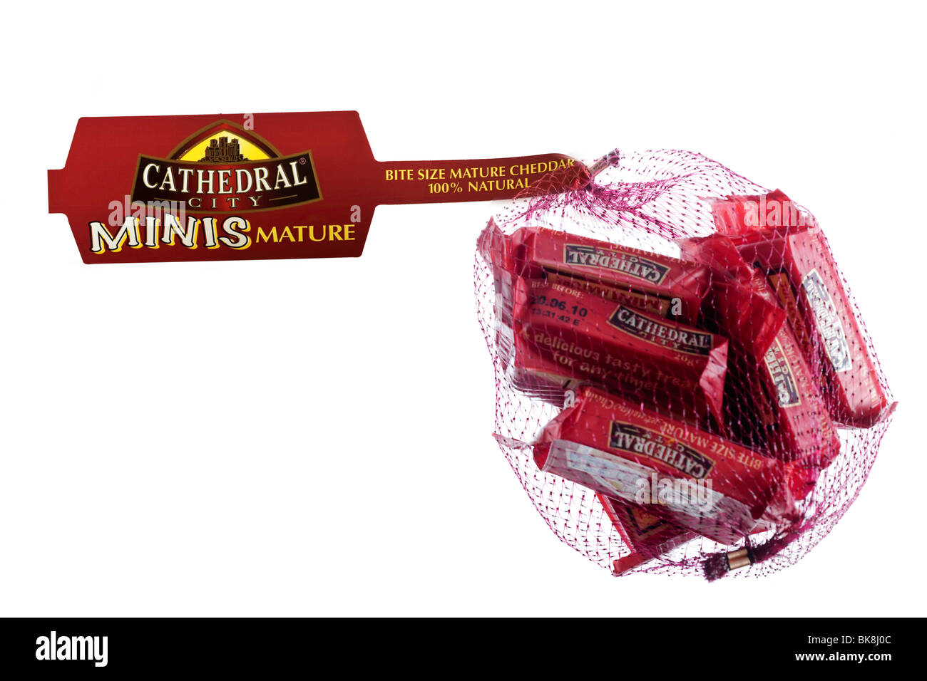 Bag of individually wrapped portions of 'Cathedral City'  mini mature mellow cheddar cheese - Stock Image