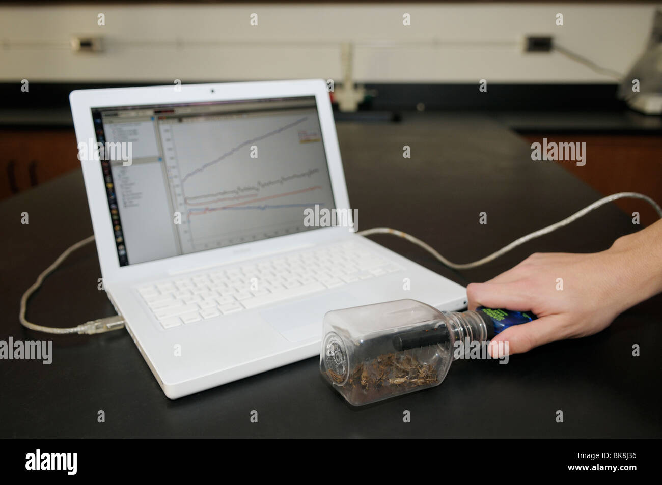 Computer interfaced carbon dioxide sensor measuring changes in CO2 over time resulting from aerobic respiration - Stock Image