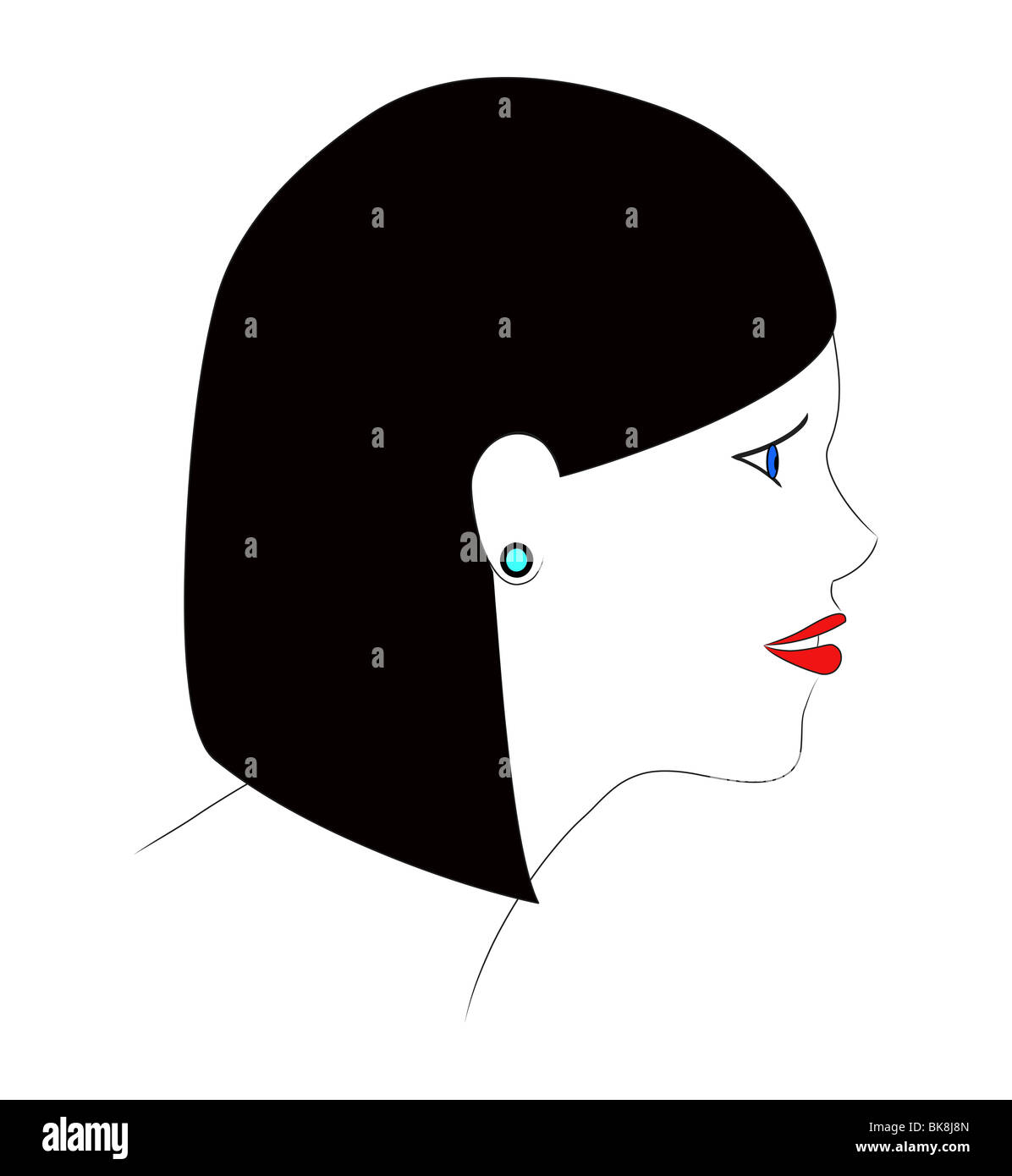 An illustration of the profile of a girl with black hair. - Stock Image