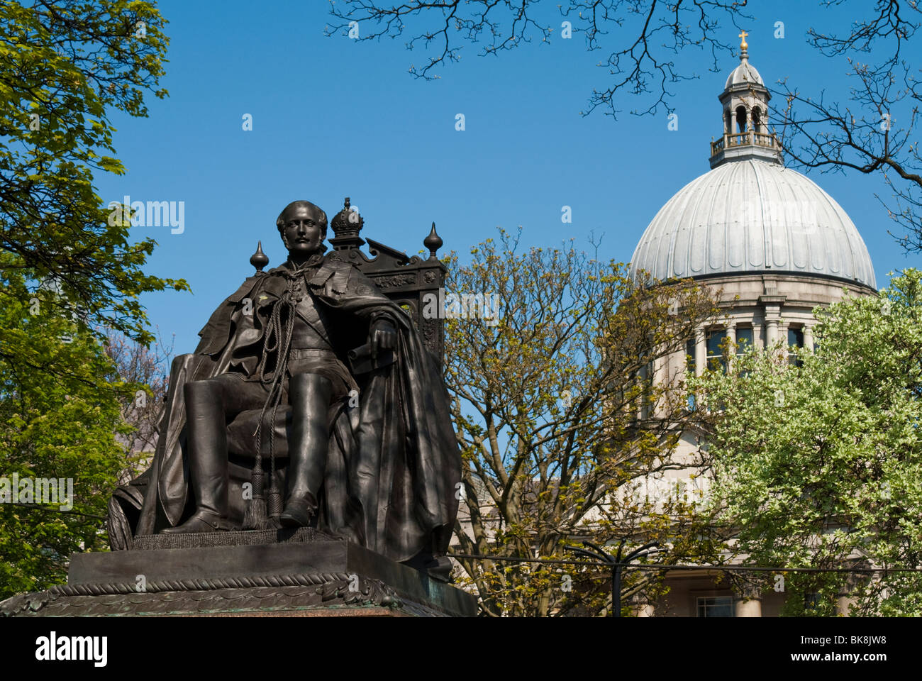Prince Albert Statue with St Marks Church - Stock Image