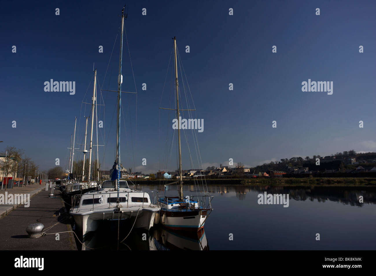 sailing boats moored at the Albert Basin on the newry canal newry county down northern ireland - Stock Image