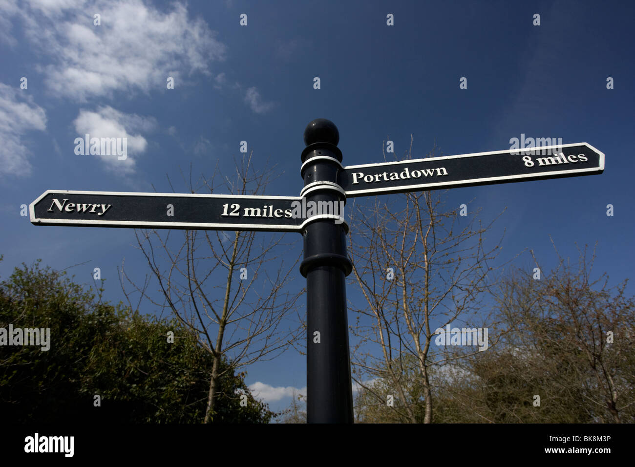 old waypoint signpost on the newry portadown canal in scarva village county down northern ireland uk - Stock Image