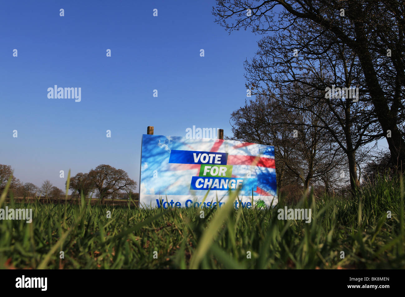 Conservative Party General Election 2010 banner in a field in the UK against a blue sky - Stock Image