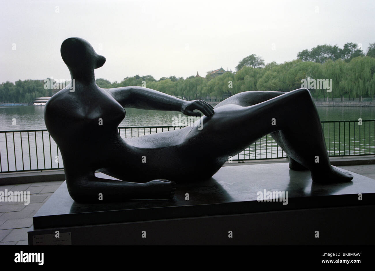Henry Moore sculpture exhibited at Beihai Park in Beijing, China. - Stock Image