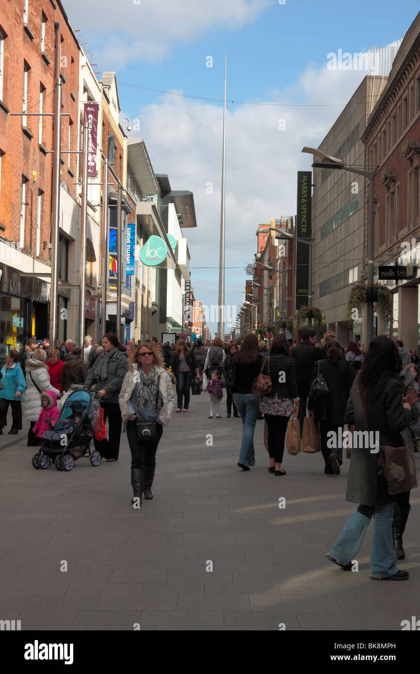 eb45fb31bd608 Crowds on Abbey Street with the Millenium Spire behind on O Connell Street  in Dublin city centre Ireland
