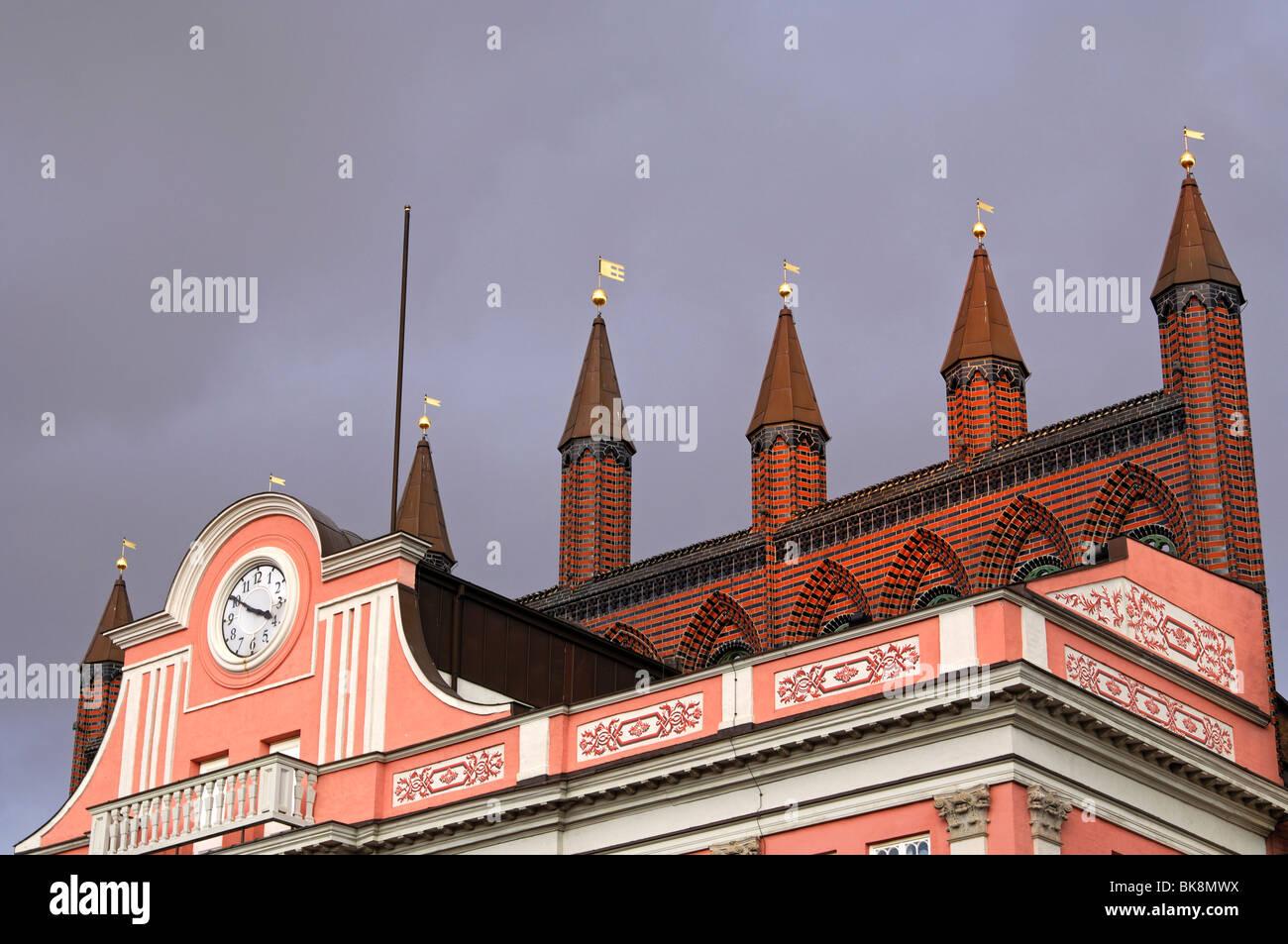 Townhall of Rostock, building in brick gothic, Rostock, Mecklenburg-Vorpommern, Germany - Stock Image