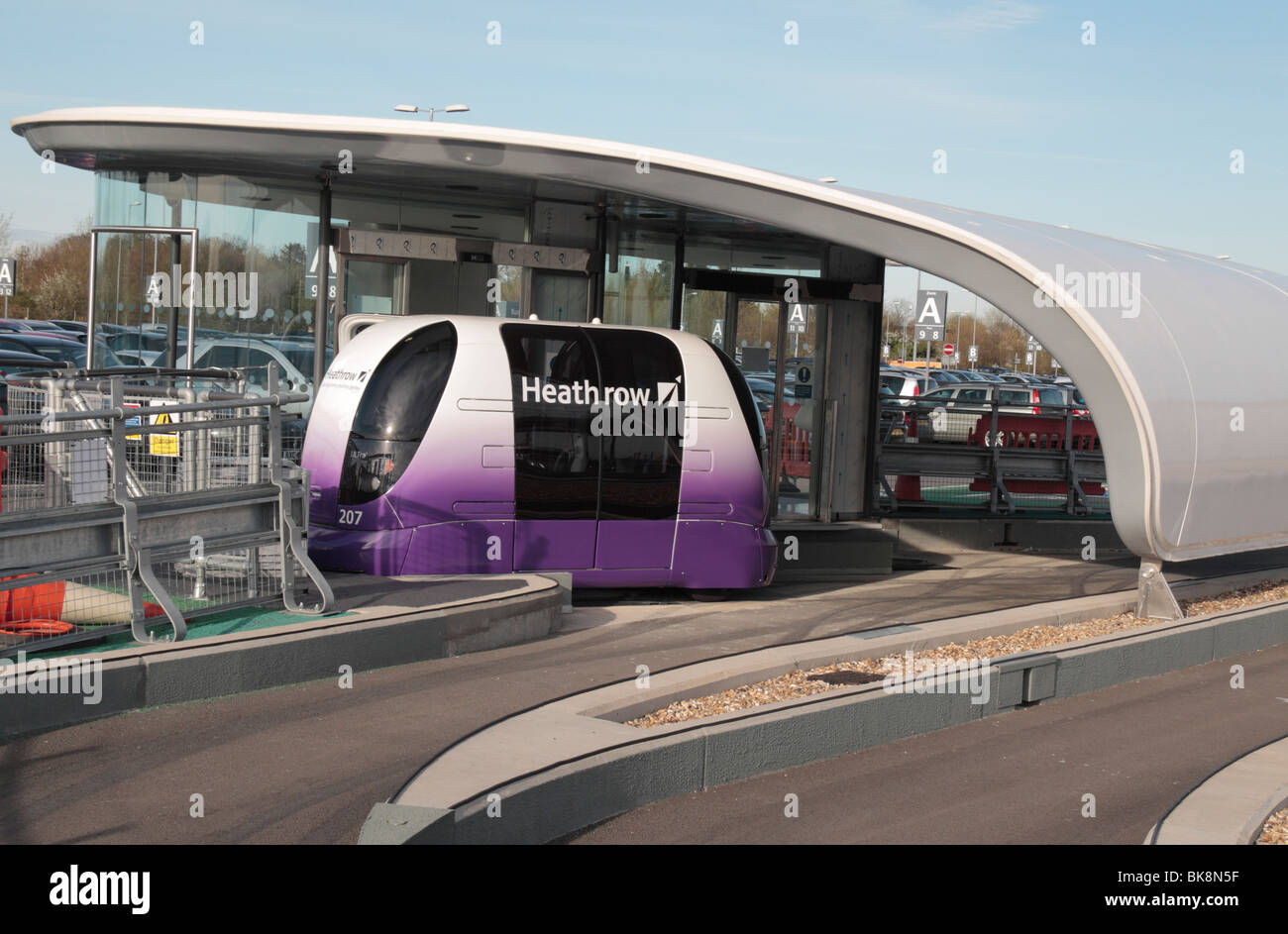A Personal Rapid Transport (PRT) pod waiting at a car park station at Heathrow Airport, London, UK. Apr 2010 - Stock Image