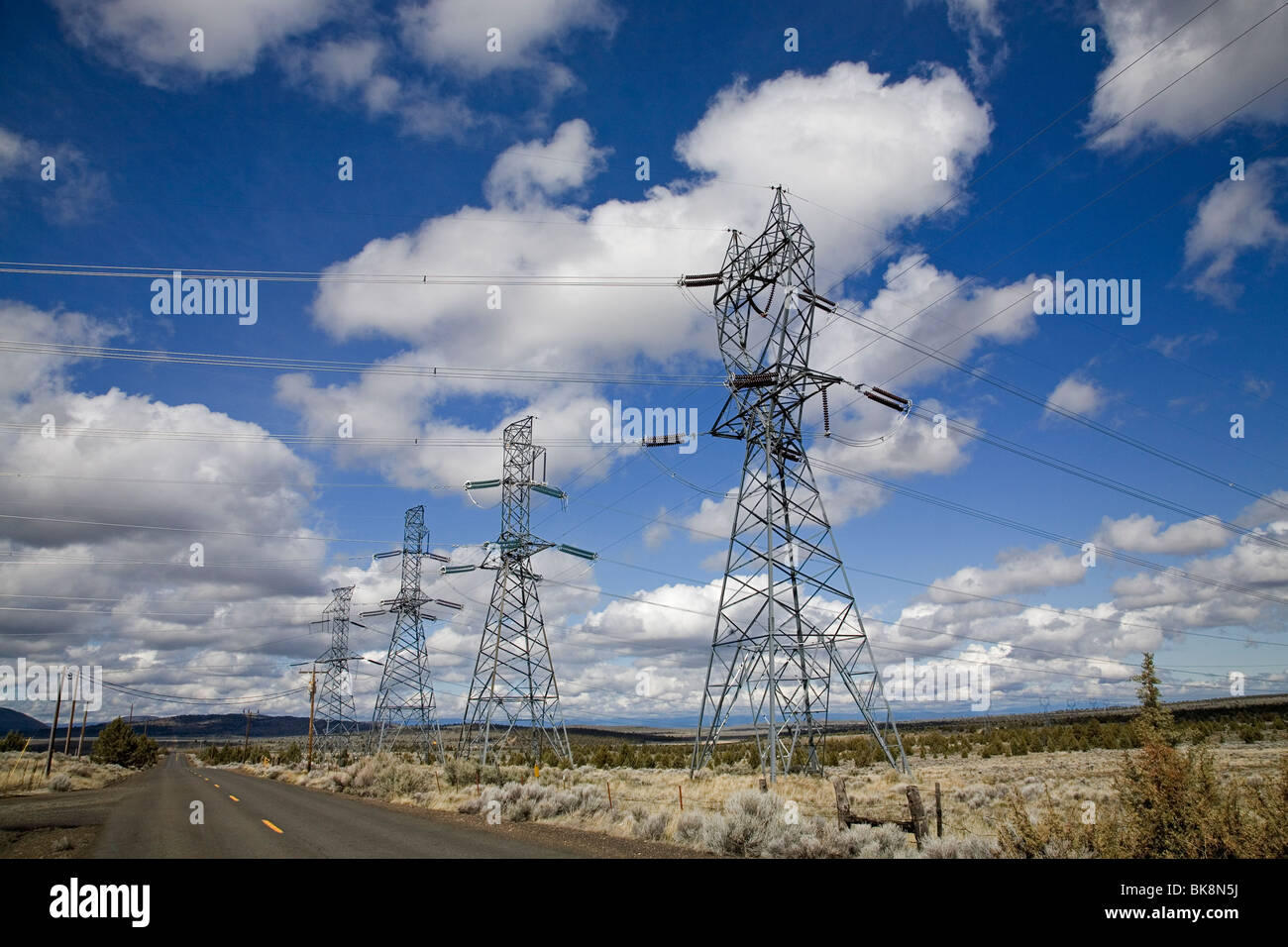 A large powerline from the Bonneville Power Company on a lonely straight road in northern Oregon - Stock Image