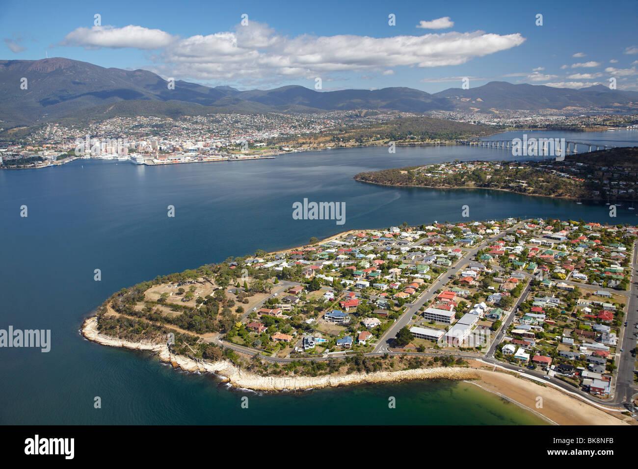 Kangaroo Bluff Historic Site, Bellerive, River Derwent, Hobart, and Mt Wellington, Tasmania, Australia - aerial - Stock Image