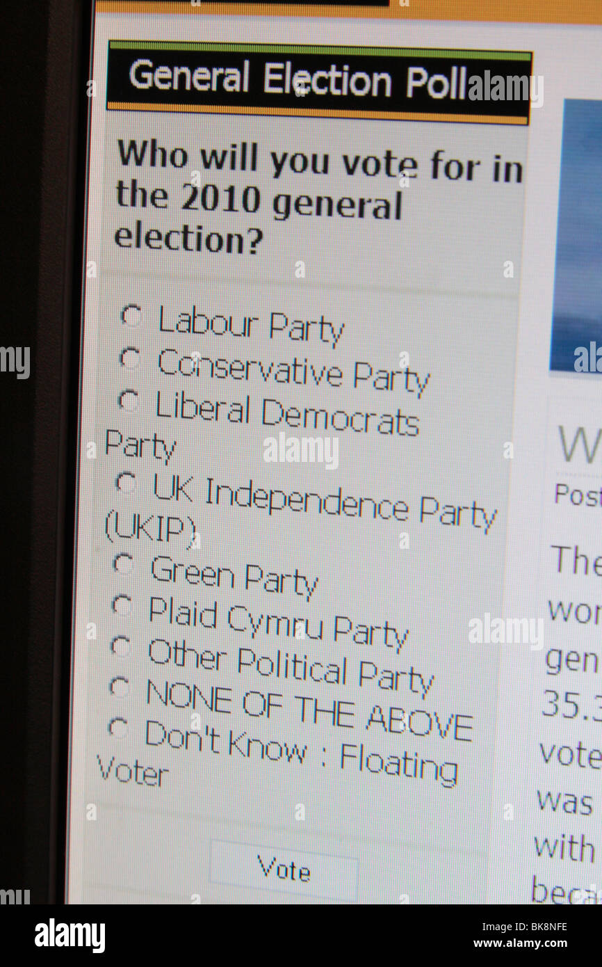 A computer screen shot of a forum debate entitled ' Reasons to Vote British National Party: BNP 2010 General - Stock Image