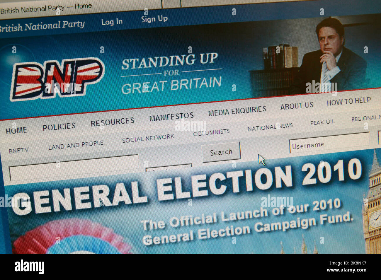 Screen shot of the British National Party's (BNP) web site during the 2010 General Election.  Apr 2010 - Stock Image