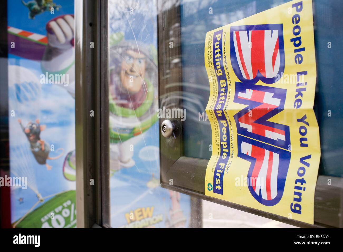 a vote bnp political party flier at a bus stop stock photo 29081672