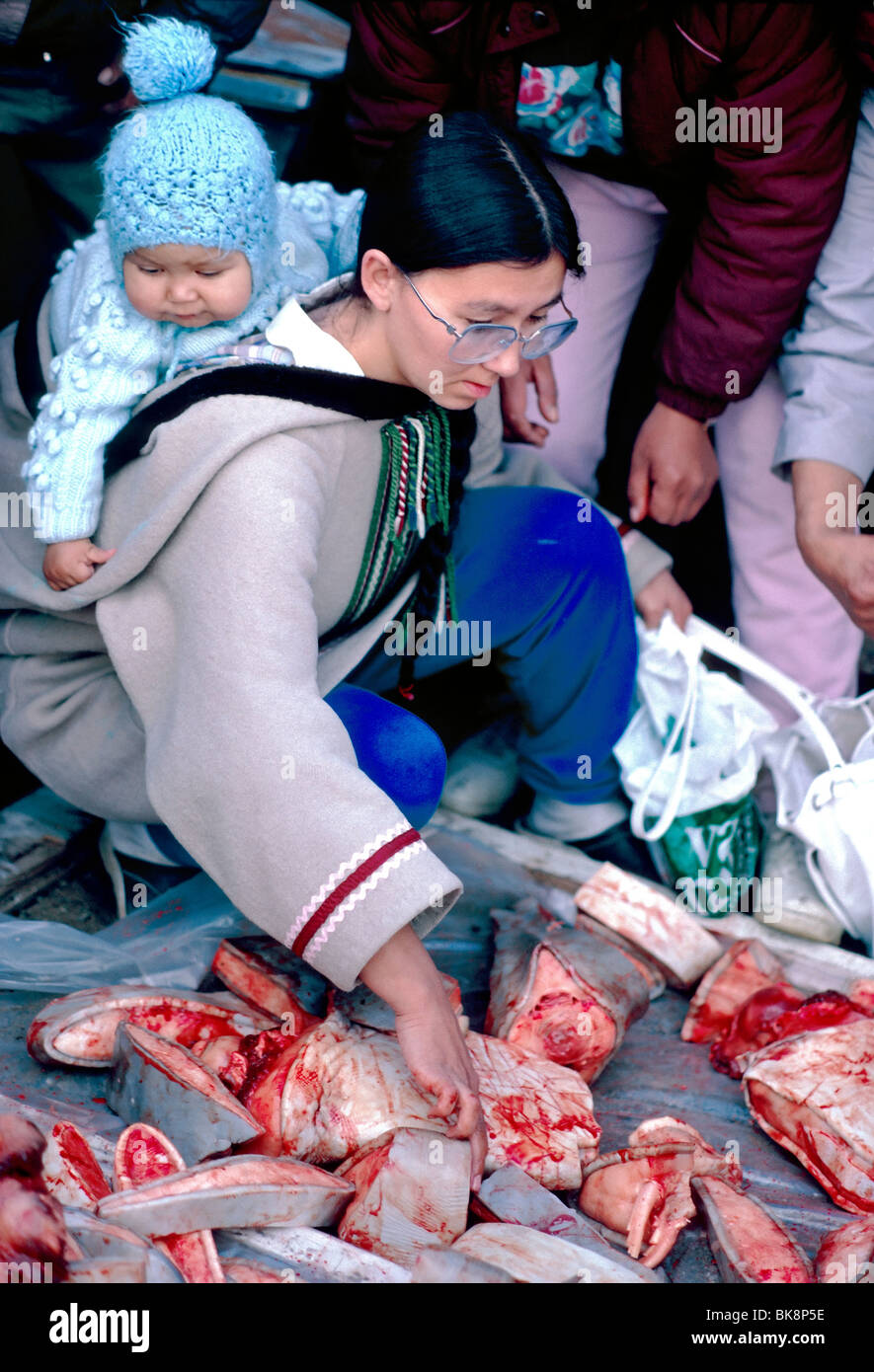 inuit woman and baby pick freshly caught beluga whale meat from a