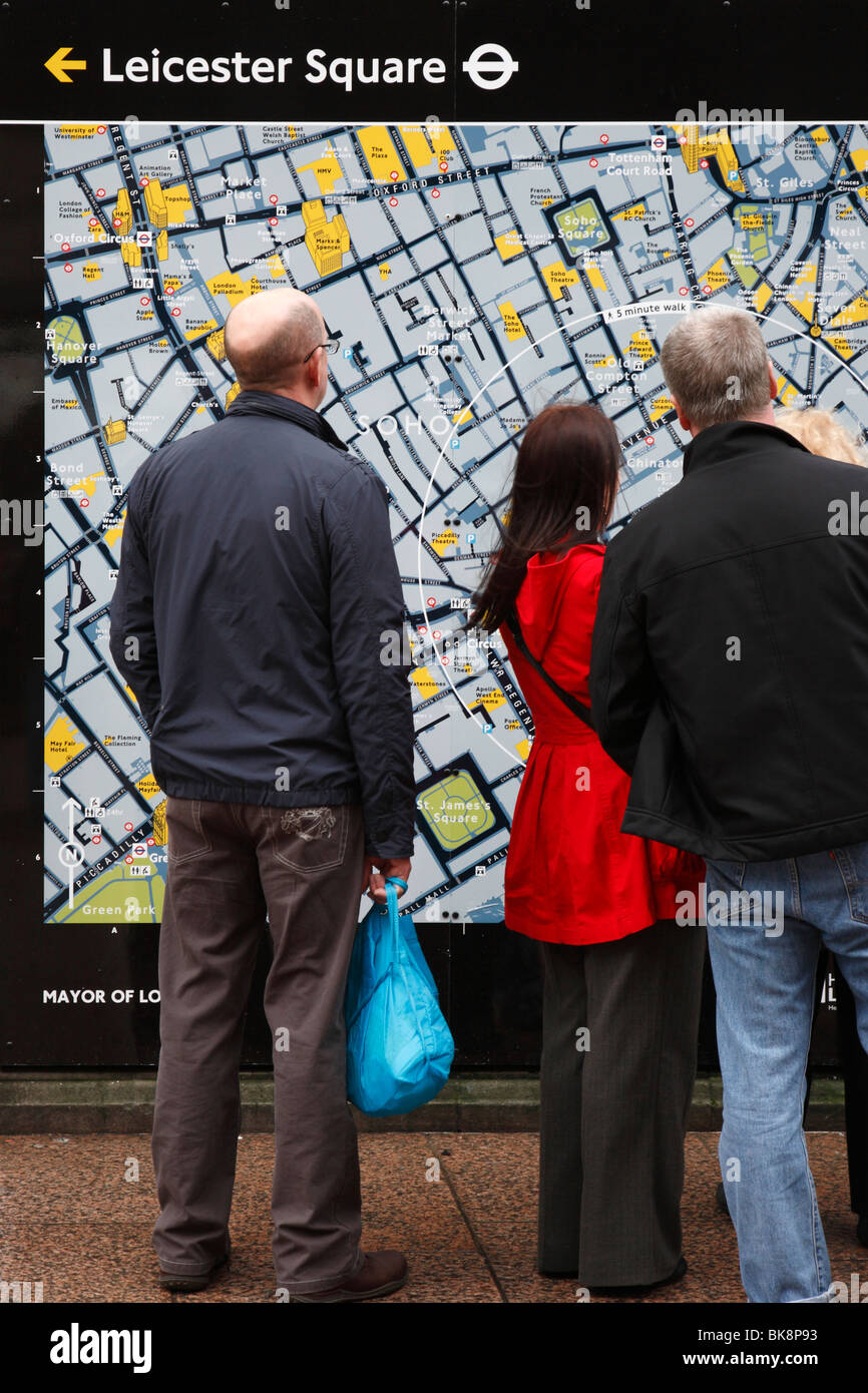 Leicester Square Street Map, London, UK - Stock Image