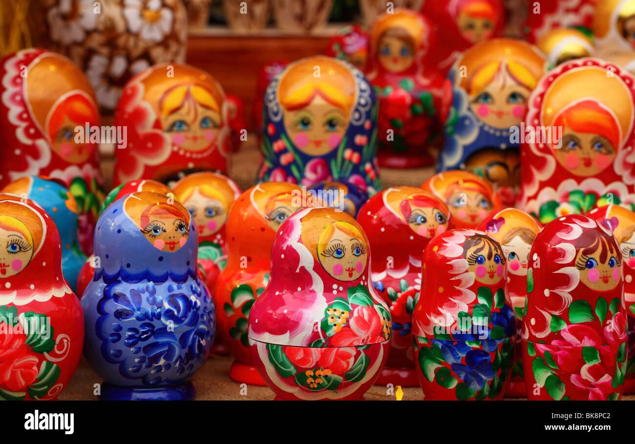 Matryoshka Matrioshkas colorful doll dolls, Babushka Babushkas Russian colorful doll dolls,Russian nested doll dolls - Stock Image