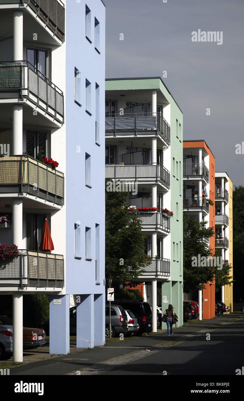 Multi-family houses with colorful facades, Dortmund, North Rhine-Westphalia, Germany, Europe - Stock Image