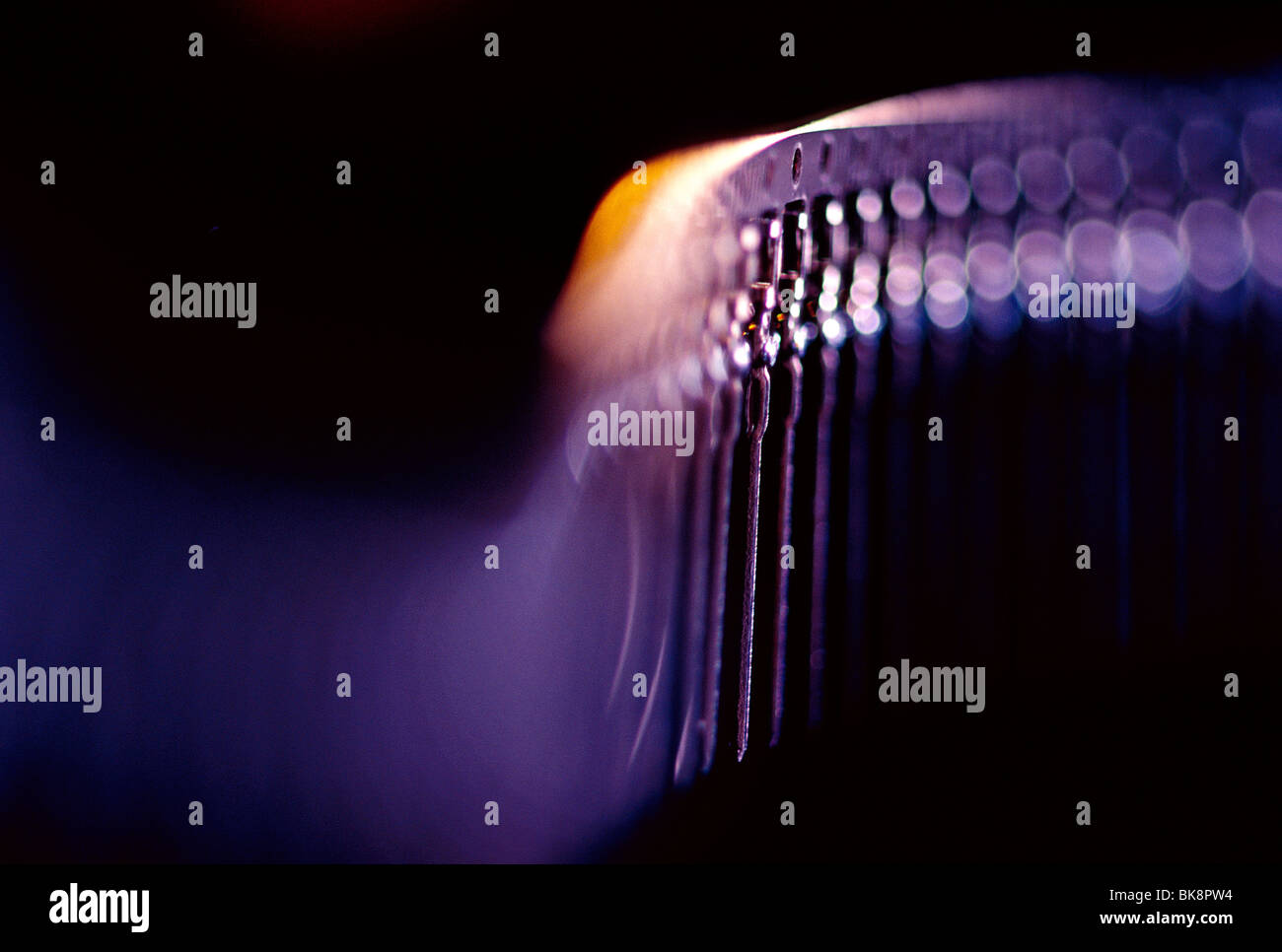 Abstract close-up view of circuit board pins used in computer circuitry. - Stock Image