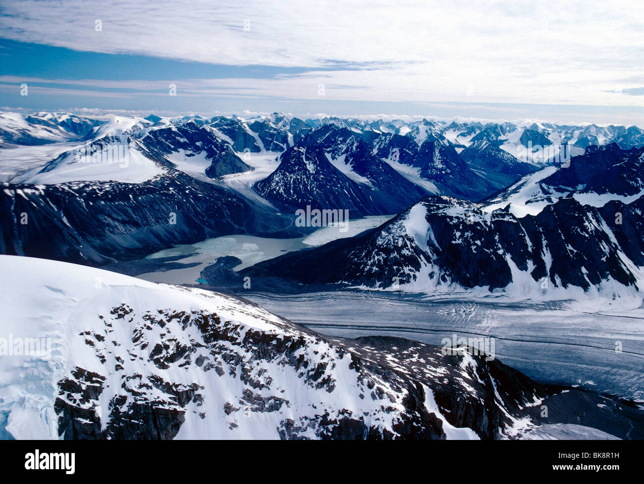 Aerial view of Mt. Alvit and the Turner Glacier, Auyuittuq National Park, Baffin Island, Nunavut, Canada Stock Photo