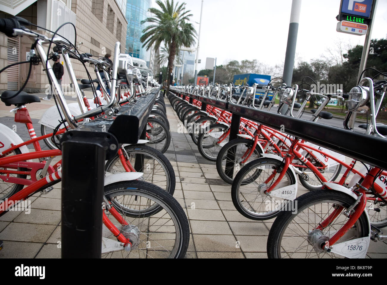 Bicing - community Bicycle programin Barcelona - Stock Image
