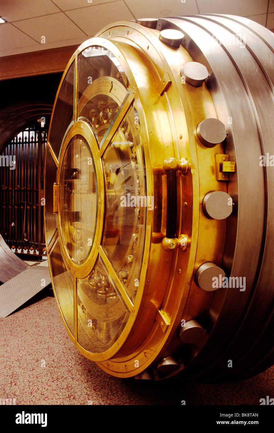 Brass and stainless steel bank vault door - Stock Image