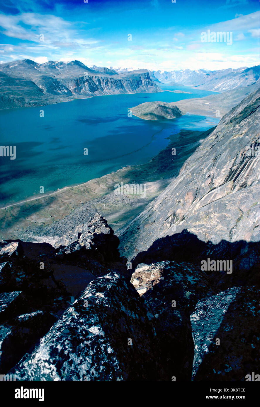 High view of Pangnirtung Fiord towards Auyuittuq National Park from Mt. Duvall, Pangnirtung, Baffin Island, Nunavut, Stock Photo