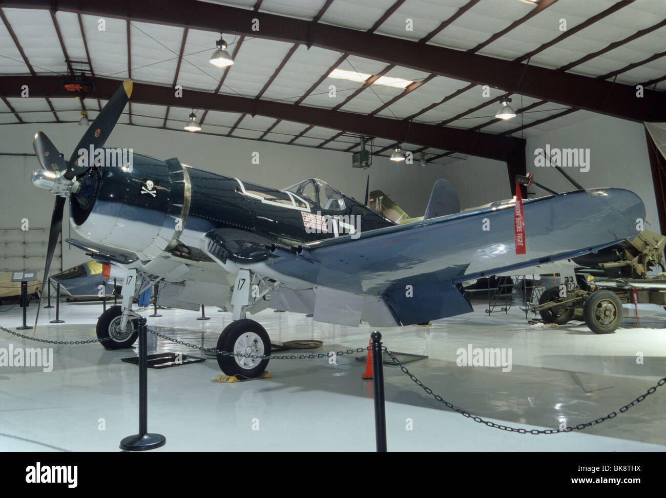 Goodyear/Chance Vought FG-1D (F4U) Corsair WWII fighter plane at Cavanaugh Flight Museum, Addison Airport, Dallas, - Stock Image