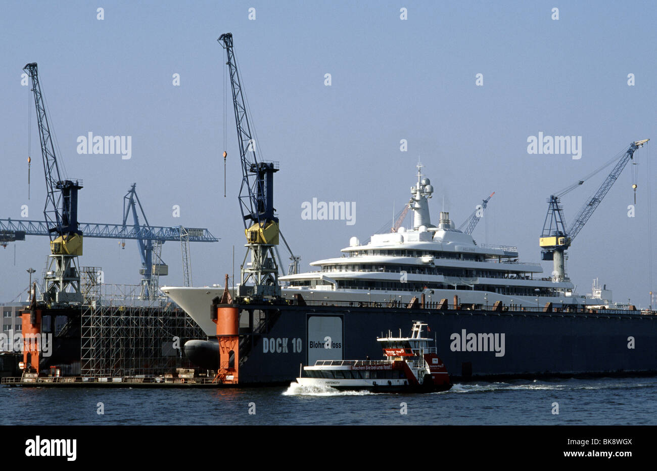 April 14, 2010 - Roman Abramovich's new yacht Eclipse at Blohm + Voss ship yard in the German port of Hamburg. - Stock Image