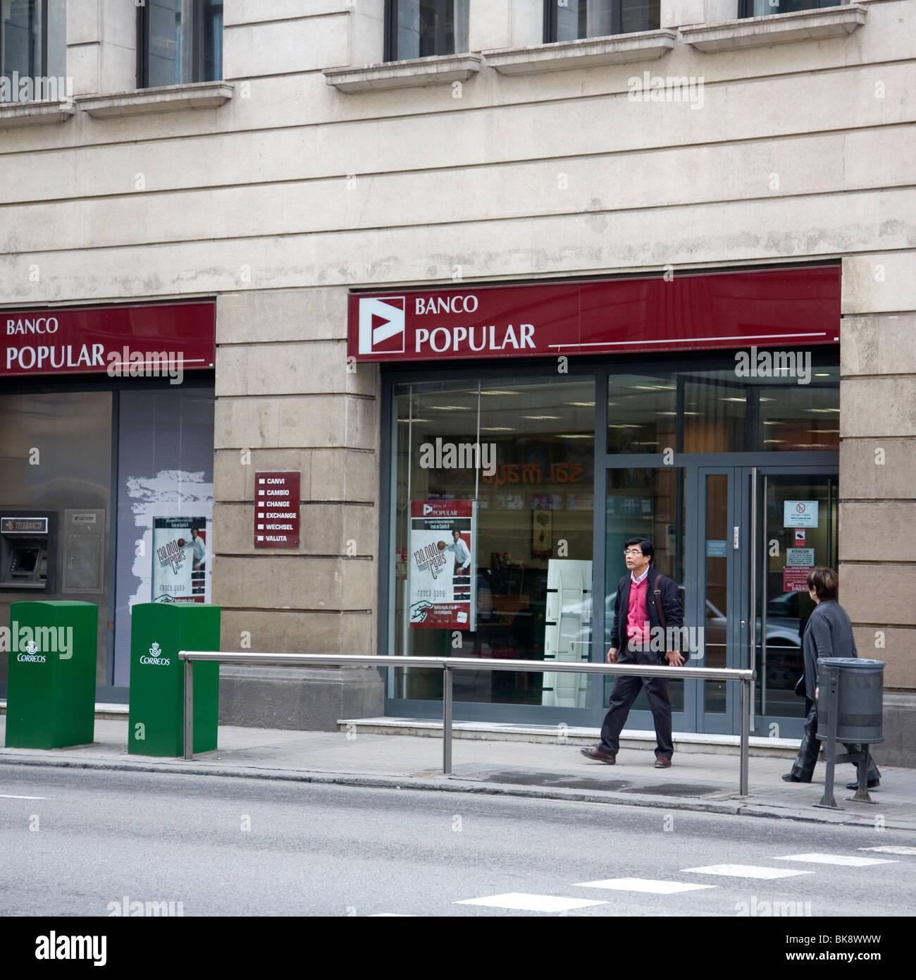 Banco Popular in Barcelona - Stock Image