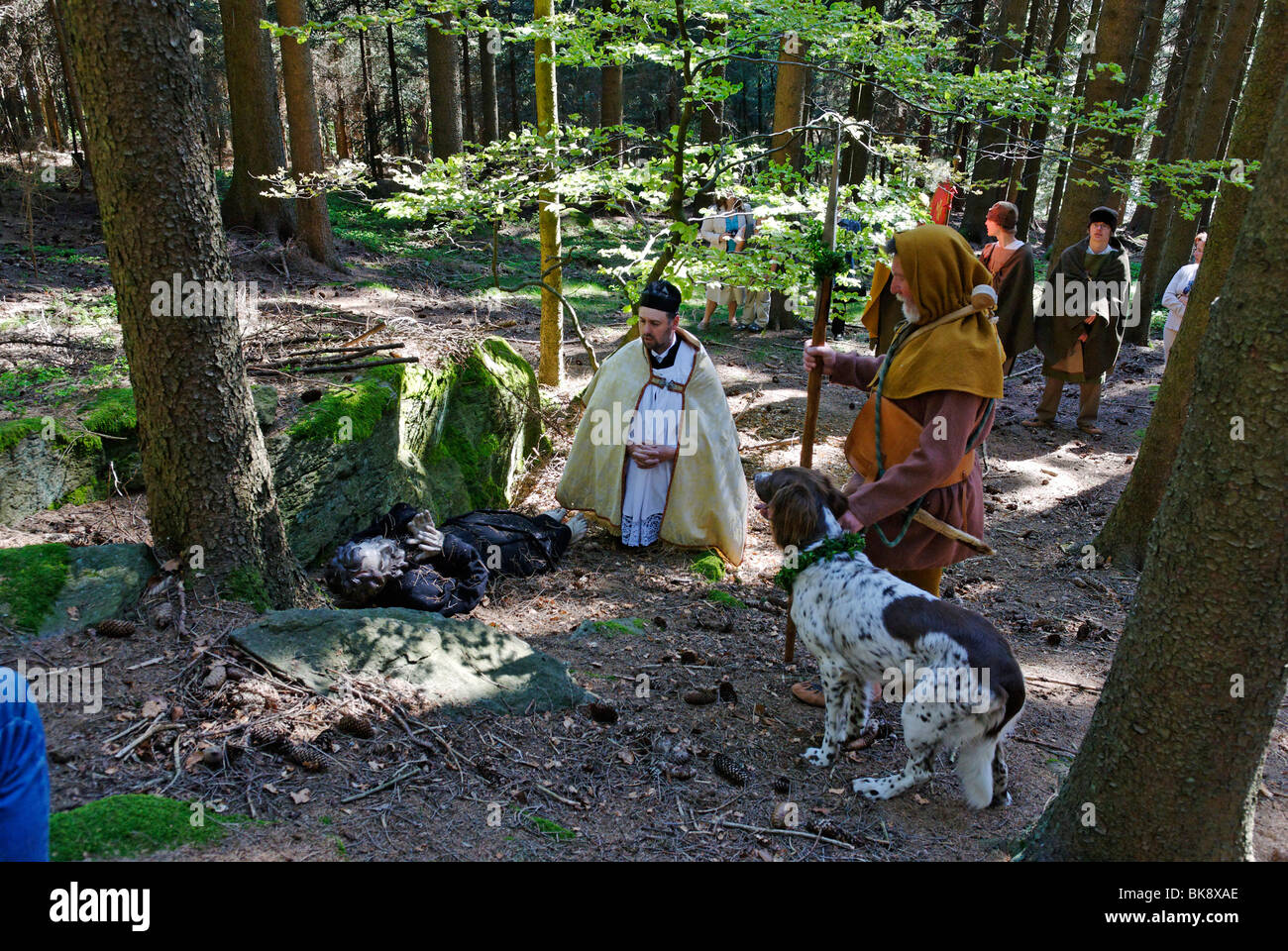 Englmar is being found, tradition of 'Englmarisuchen', 'looking for Saint Englmar', Bavarian Forest, - Stock Image