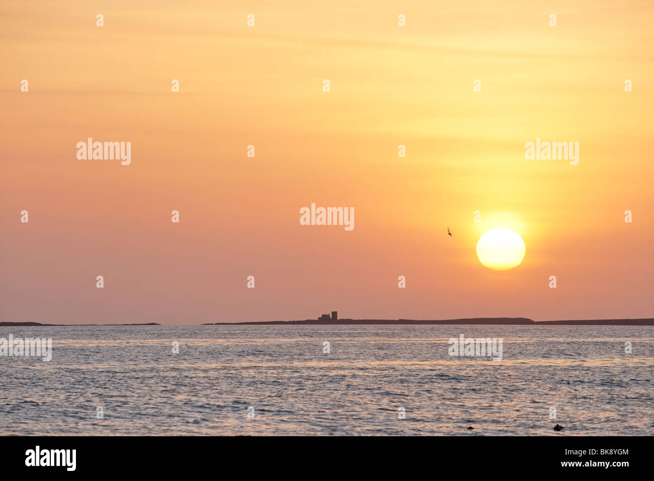 The Farne Islands at sunrise. Viewed from Bamburgh, Northumberland, England, UK. Stock Photo