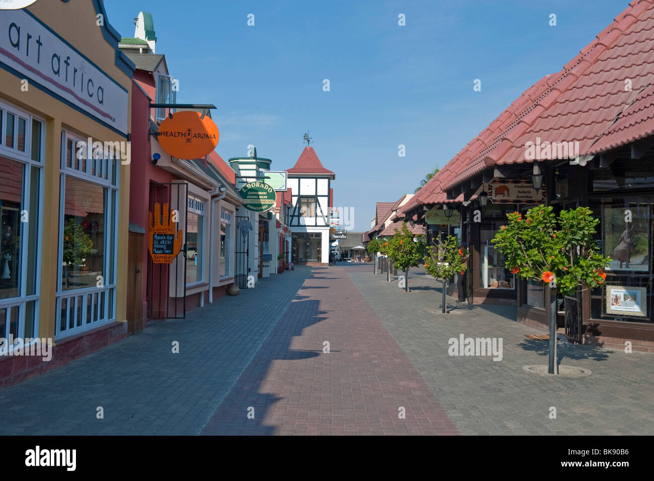 Shopping precinct on Woermann Street in Swakopmund, Namibia - Stock Image