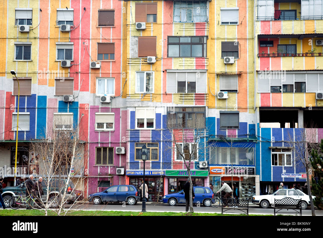 Many buildings in Albania's capital Tirana are painted, by a mayor.'s caprice, in patterns of vivid colour Stock Photo
