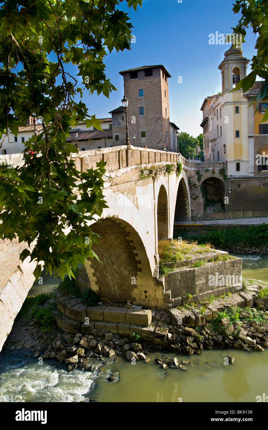 The Fabricio Bridge leading to the Tiber Island, Rome, Italy. - Stock Image