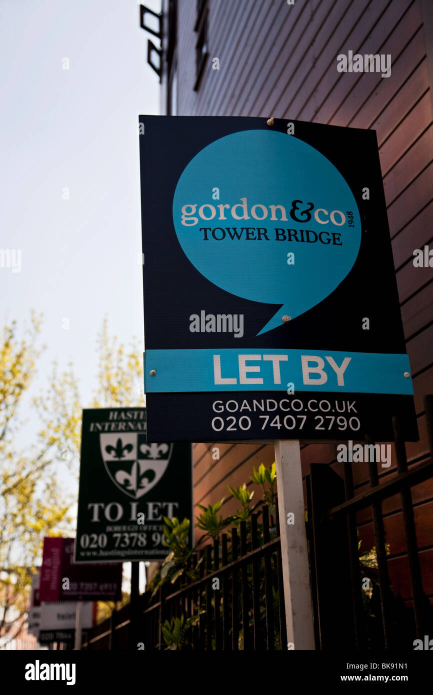 For sale and to let signs outside flats in London, UK - Stock Image
