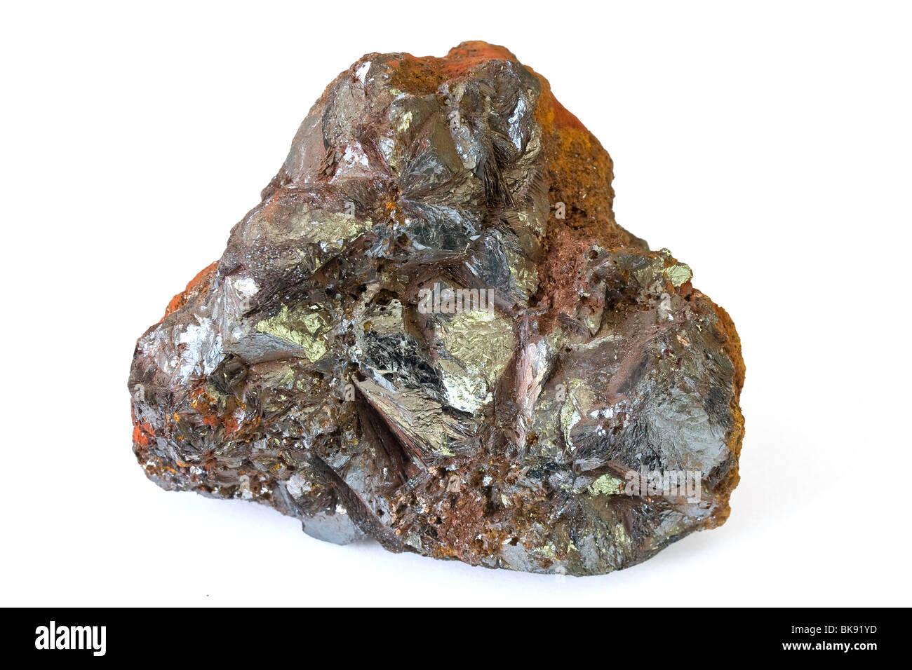 hematite mineral from Elba isle isolated on white background - Stock Image
