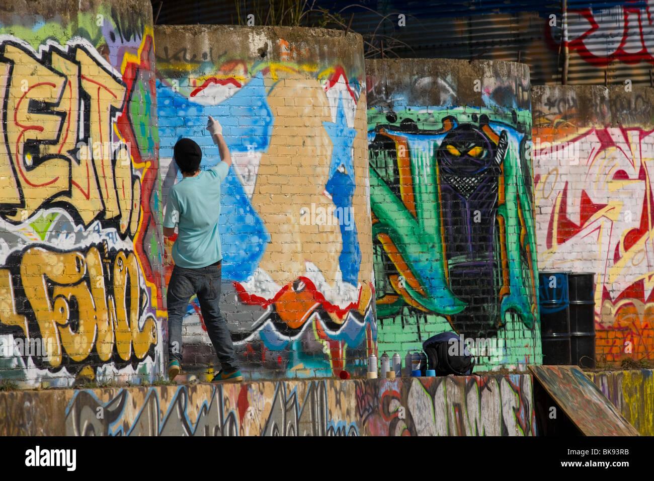 Graffiti artist tagging near railroad tracks, River Arts District, Asheville, North Carolina Stock Photo