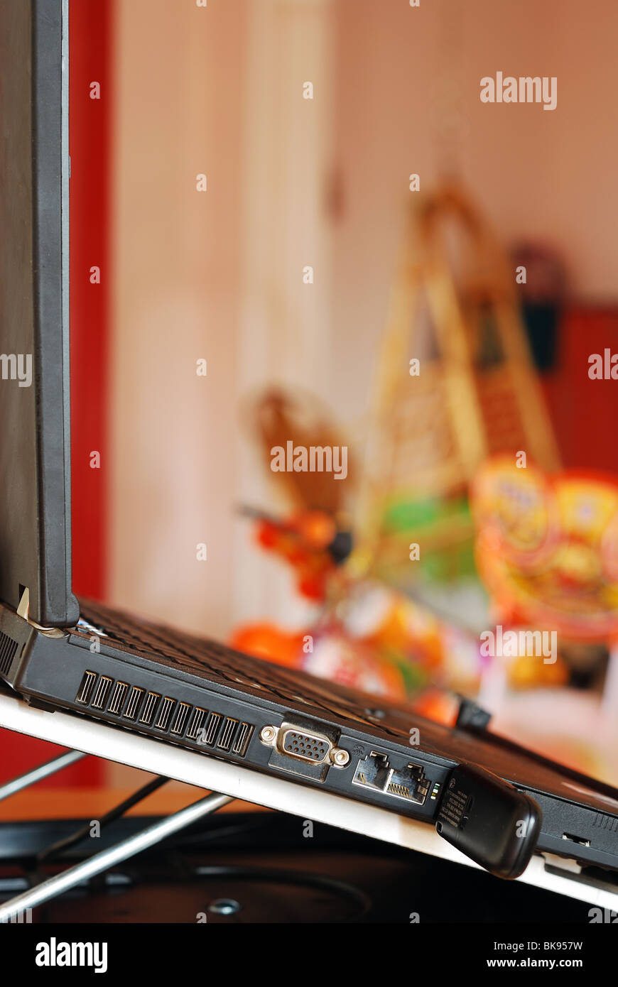 Laptop with Blurred background Stock Photo